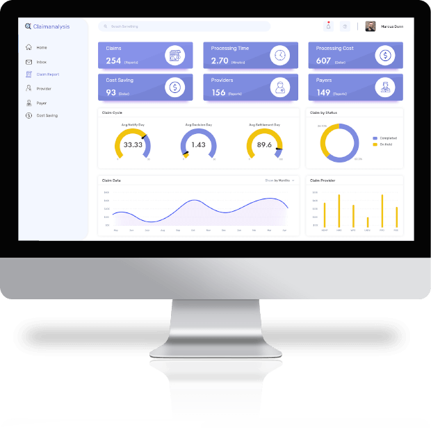 healthcare claims analytics dashboards for health insurance claims processing